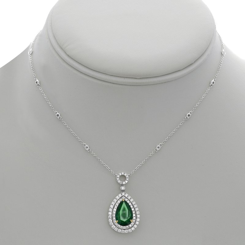 Roman & Jules Double Halo Emerald Necklace