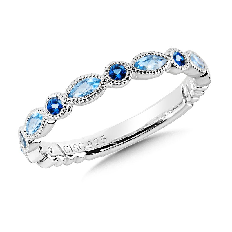 Colore Sg Sterling Silver Blue Topaz and London Blue Topaz Stacking Band