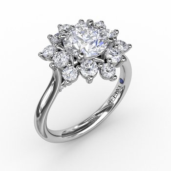Contemporary Floral Halo Diamond Engagement Ring