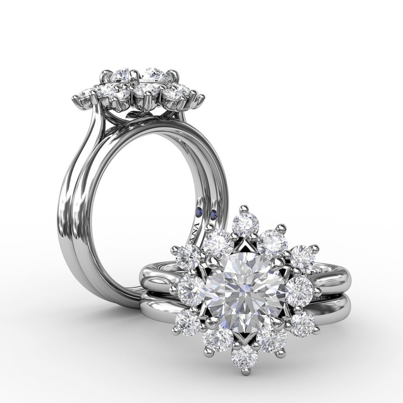 Fana Contemporary Floral Halo Diamond Engagement Ring