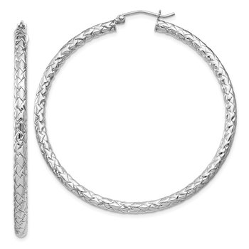 Sterling Silver Rhodium-plated Textured 3x50mm Hoop Earrings