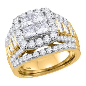 14kt Yellow Gold Womens Princess Diamond Cluster Halo Bridal Wedding Engagement Ring 3.00 Cttw