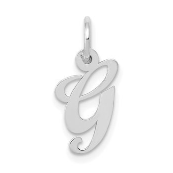 14k White Gold Small Fancy Script Letter G Initial Charm