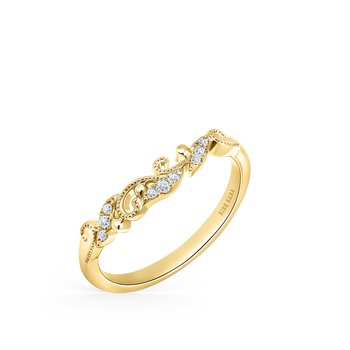 Milgrain Floral Diamond Wedding Band