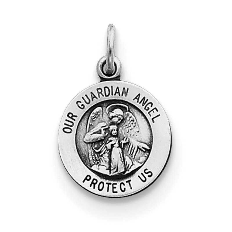 Arizona Diamond Center Collection Sterling Silver Antiqued Guardian Angel Medal