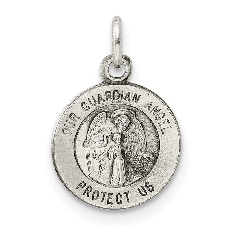 Quality Gold Sterling Silver Antiqued Guardian Angel Medal