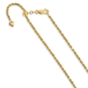Leslie's 14K Adjustable 2mm D/C Rope Chain