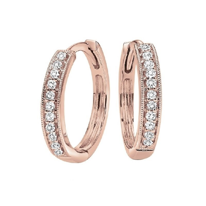 Gems One 10K Rose Gold Mixable Micro Prong Diamond Earrings 1/7CT