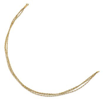 14K Three Strand Twisted Stretch Mesh Necklace