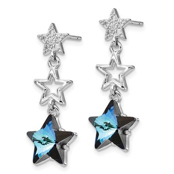 Sterling Silver Rhodium-plated Blue Crystal Star Dangle Post Earrings