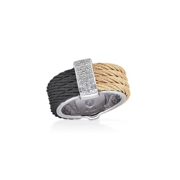 Black & Carnation Cable Petite Colorblock Ring with 18kt White Gold & Diamonds