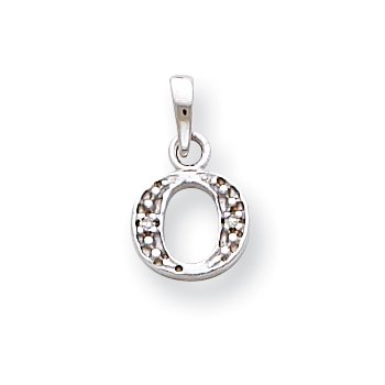 14KW Rhodium-plated Diamond Letter O Initial Pendant