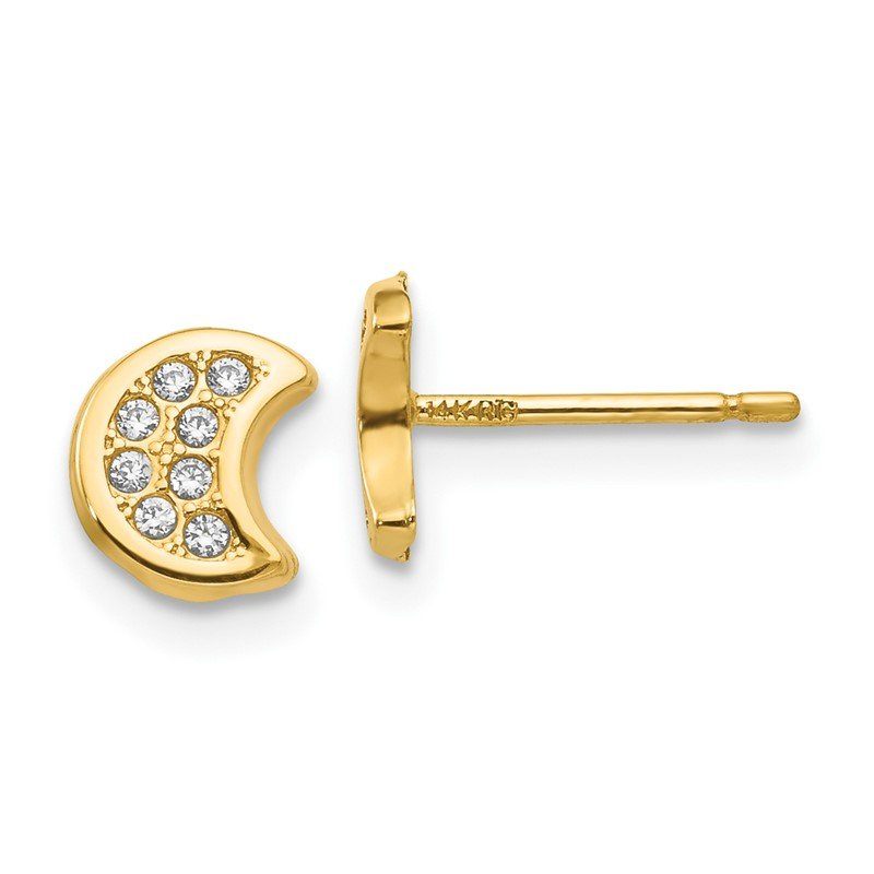 Quality Gold 14k Polished CZ Moon Post Earrings