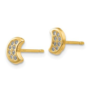 14k Polished CZ Moon Post Earrings