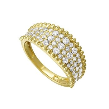 Diamond Studded Milgrain Ring in 14K Yellow Gold (1 ct. tw.)