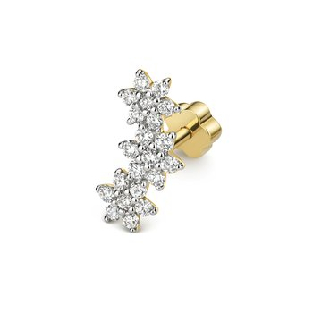 Diamond Cartilage Flower Trio Stud