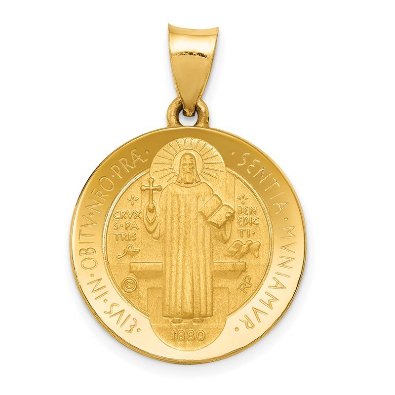 Quality Gold 14k Polished and Satin St Benedict Hollow Medal Pendant