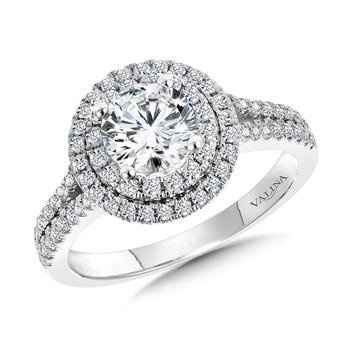Round Double-Halo Split Shank Engagement Ring