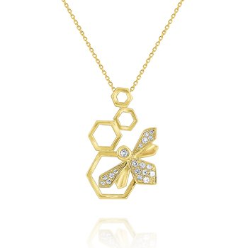 14k Honeycomb Pendant with Diamond Bee