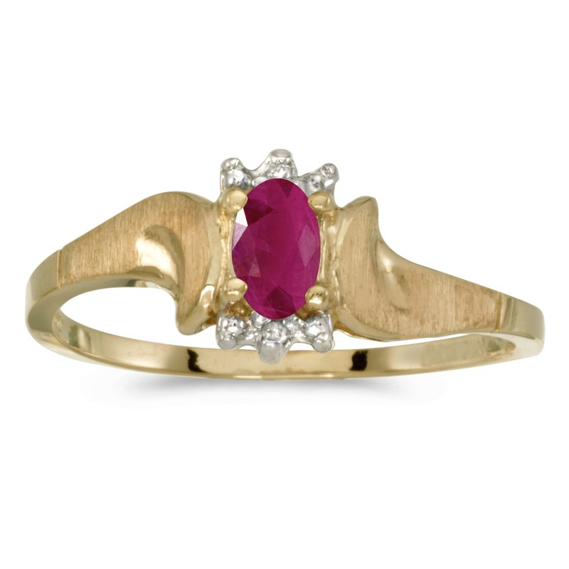 Color Merchants 10k Yellow Gold Oval Ruby And Diamond Satin Finish Ring