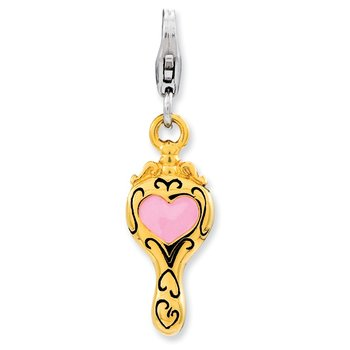 Sterling Silver Enameled 3-D Gold Plated Heart Mirror w/Lobster Clasp Charm