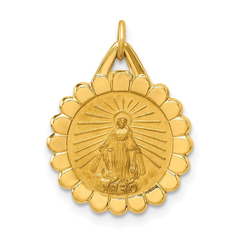 Quality Gold 14k Solid Polished/Satin Small Round Scalloped Miraculous Medal
