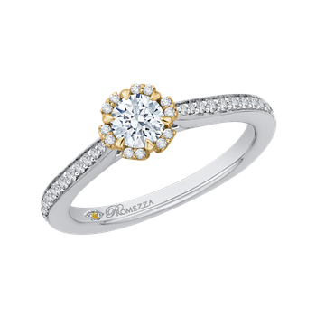 14K Two-Tone Gold Round Diamond Engagement Ring