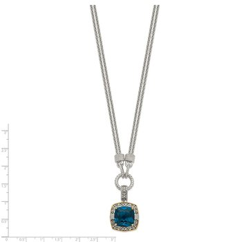 Sterling Silver w/14K London Blue Topaz & Diamond 1in. Ext. Necklace