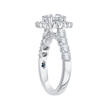 18K White Gold Round Halo Diamond Engagement Ring (Semi-Mount)
