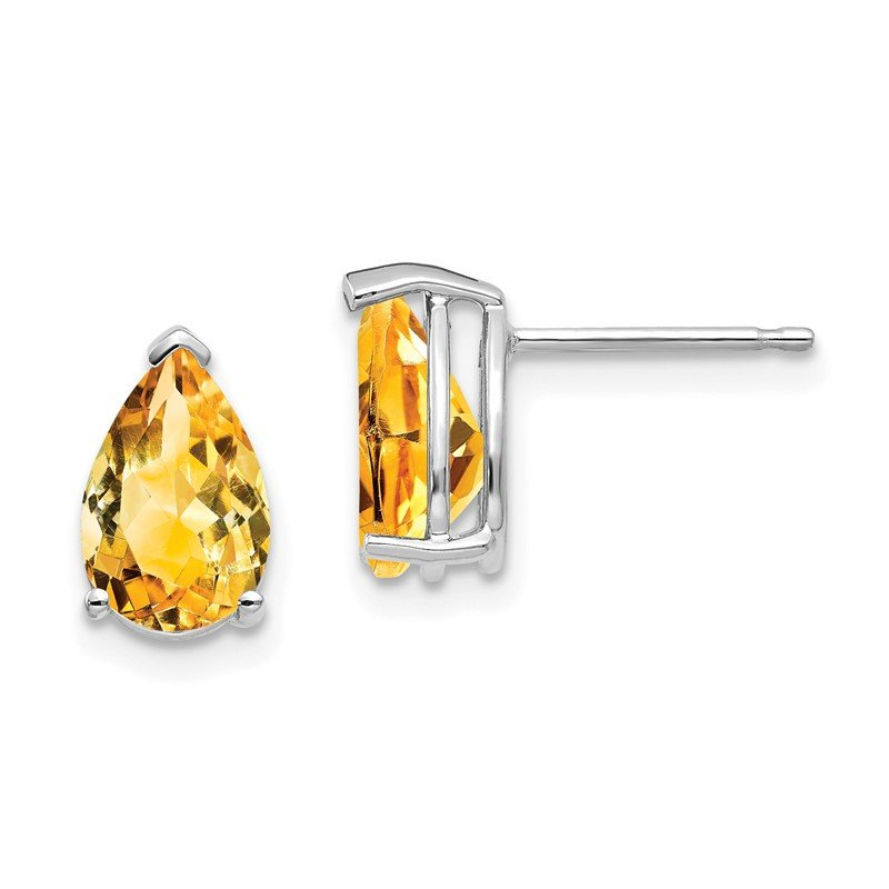 Quality Gold 14k White Gold 9x6mm Pear Citrine Earrings