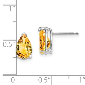 14k White Gold 9x6mm Pear Citrine Earrings