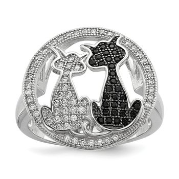 Sterling Silver Brilliant Embers Rhodium-plated CZ Polished Cat Ring