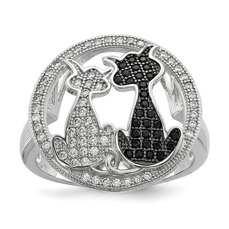 Quality Gold Sterling Silver & CZ Brilliant Embers Cat Ring