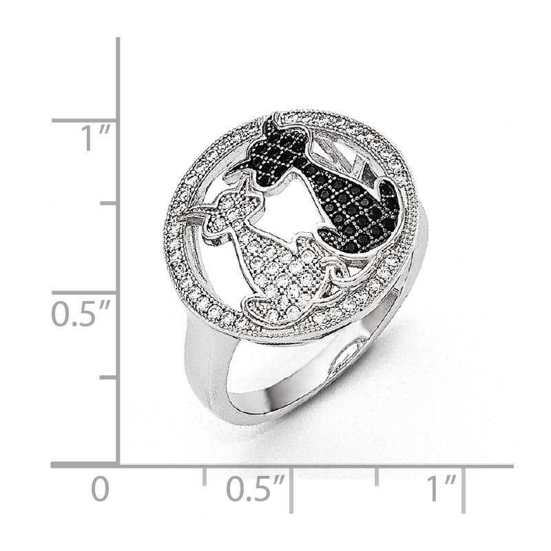 Quality Gold Sterling Silver Brilliant Embers Rhodium-plated CZ Polished Cat Ring
