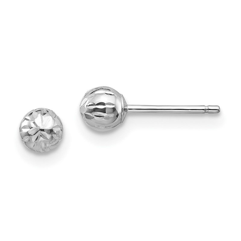 Quality Gold 14K White Gold Madi K Diamond Cut 4M Ball Post Earrings