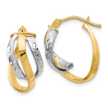 Leslie's 14K Two-tone Polished and D/C Oval Hinged Hoop Earrings