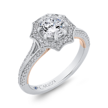 18K Two-Tone Gold Round Diamond Floral Halo Engagement Ring with Split Shank (Semi-Mount)