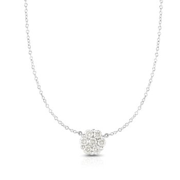 14K Gold .50ct Diamond Cluster Necklace