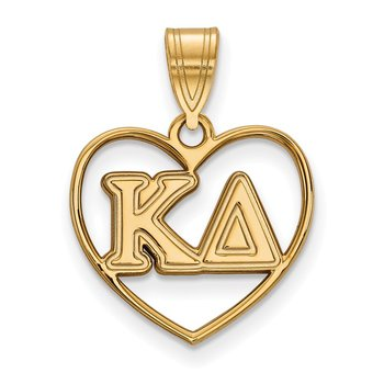 Gold-Plated Sterling Silver Kappa Delta Greek Life Pendant