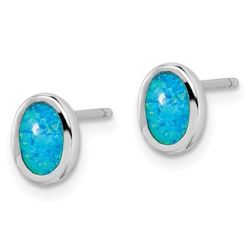 Sterling Silver Rhodium-plated Imitation Opal Oval Post Earrings