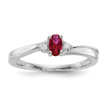 Sterling Silver Rhodium-plated Created Ruby Birthstone Ring