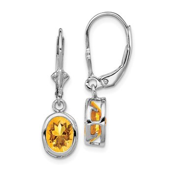 Sterling Silver Rhodium 8x6mm Oval Citrine Leverback Earrings