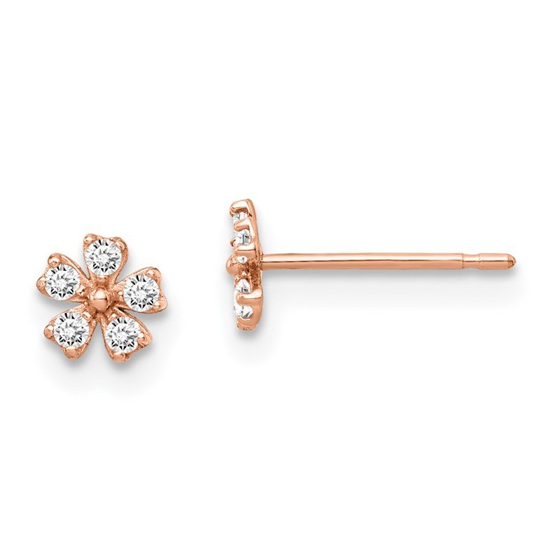 Fine Jewelry by JBD 14k Madi K Rose Gold Flower CZ Post Earrings