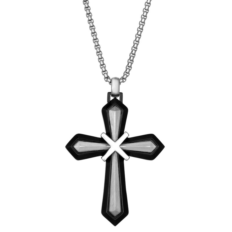 Lynx Black Ion Plated Stainless Steel X Overlay Cross Pendant - 24 Inch Box Chain