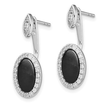 Sterling Silver RH-plated Oval Black Agate Jackets w/CZ Post Earrings