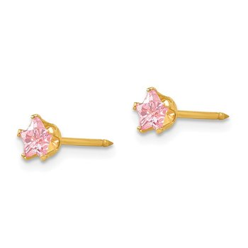 Inverness 14k 4mm Pink Star CZ Earrings
