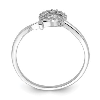 Sterling Silver Rhodium-plated X and O CZ Ring
