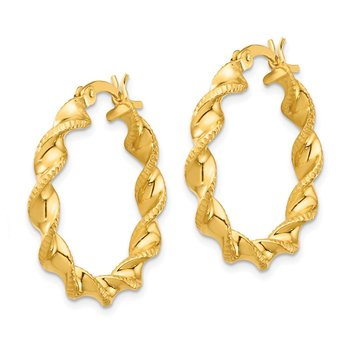 Sterling Silver Gold Flash Plated Patterned Twisted 4x25mm Hoop Earrings