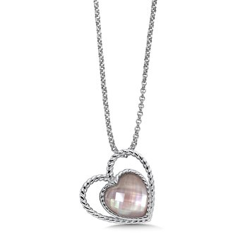 Sterling silver and rose mother of pearl fusion heart pendant