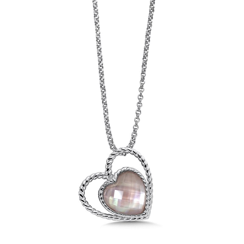 Colore Sg Sterling silver and rose mother of pearl fusion heart pendant